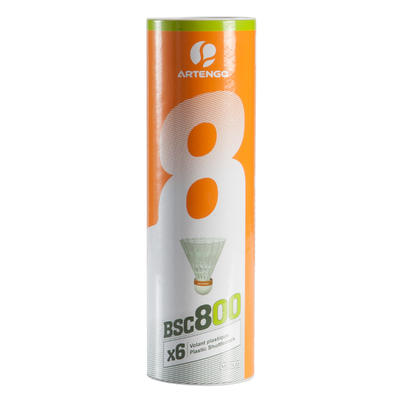 VOLANTS DE BADMINTON BSC800 x 6 - BLANC -