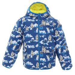 KIDS' SKI JACKET WARM REVERSE 100 - YELLOW AND BLUE