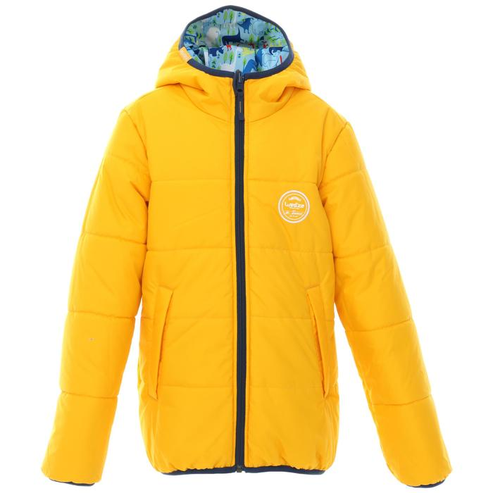 CHILDREN'S SKI JACKET WARM REVERSE 100 - YELLOW AND BLUE