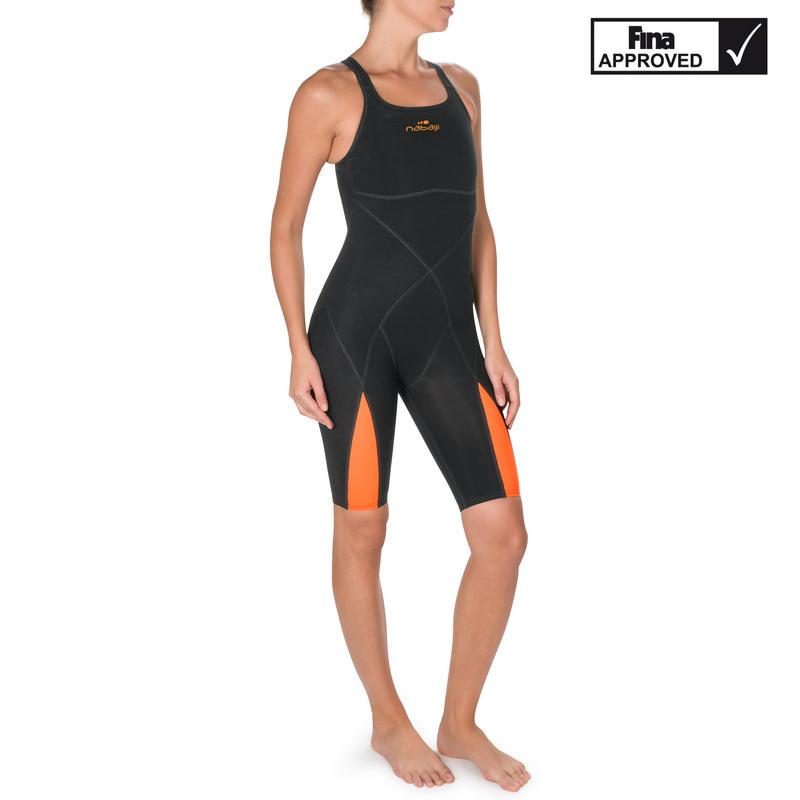 Fina Women's Swimming Competition Suit - Orange/Black