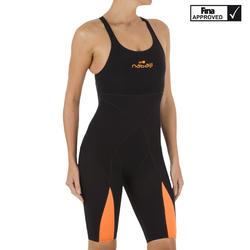 Traje de natación para competición Fina mujer naranja negro
