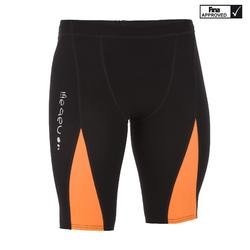 男款競賽及膝短褲FINA 900 FAST - 黑色橘色