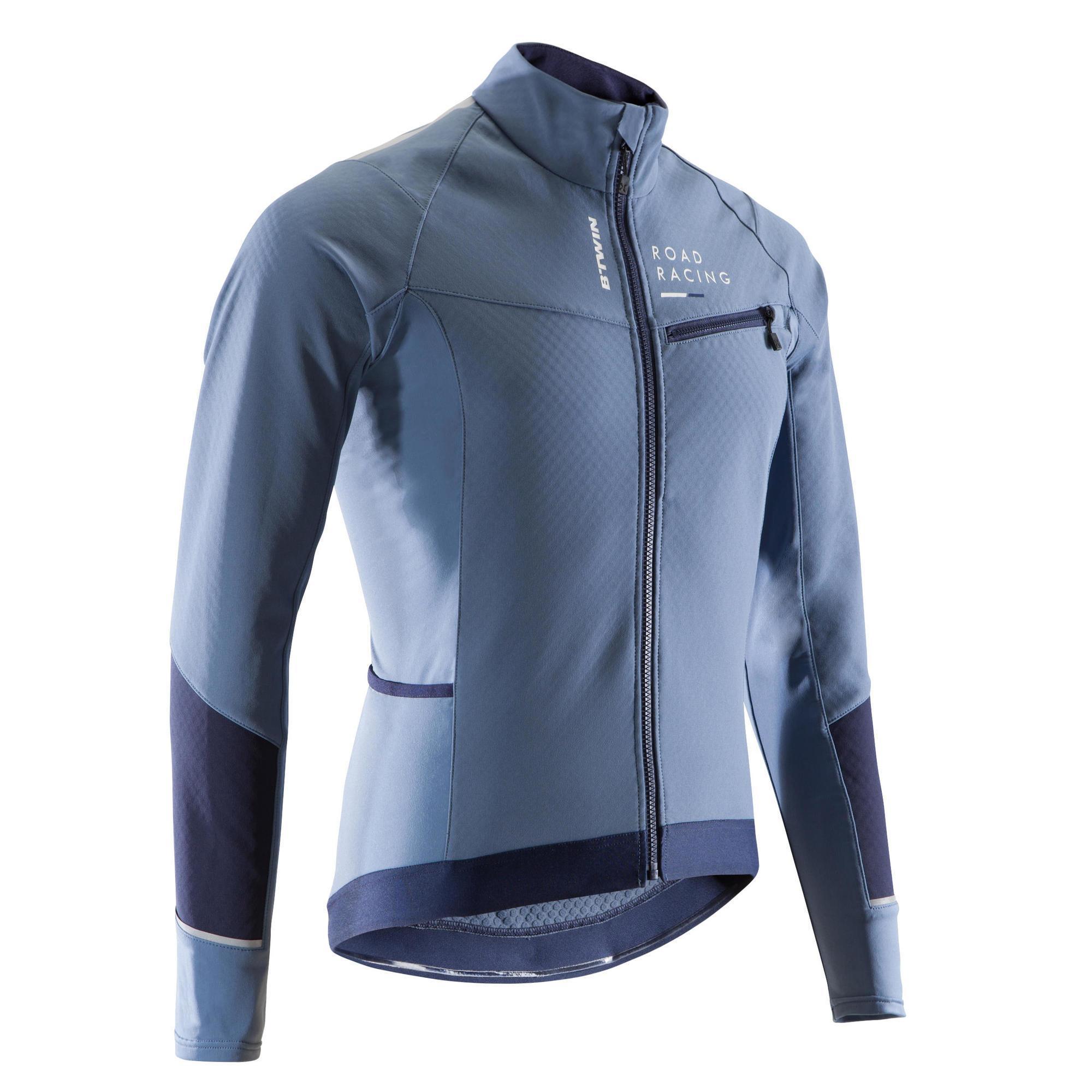 Fahrrad-Winterjacke Rennrad RR 500 Herren grau/blau | Bekleidung > Jacken > Winterjacken | Grau - Blau | B´twin