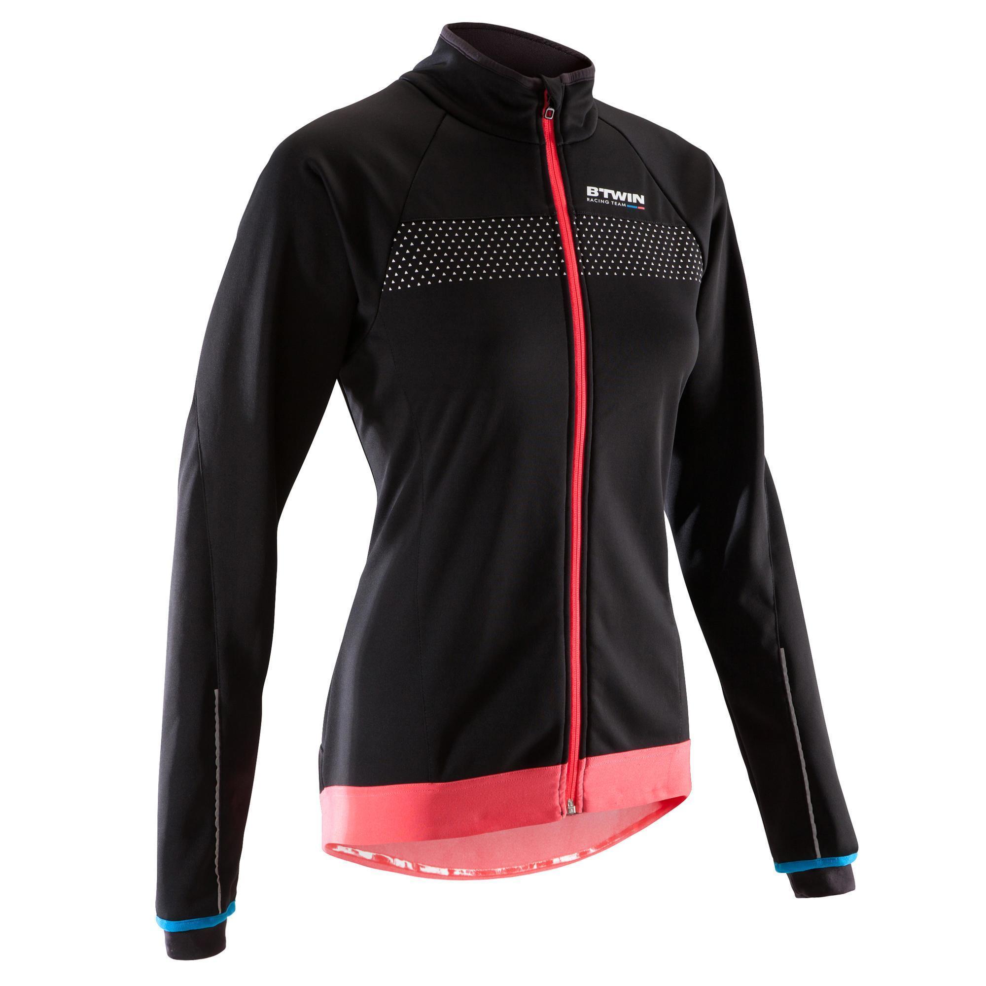 Fahrradjacke Rennrad 900 Damen schwarz | Sportbekleidung > Sportjacken > Fahrradjacken | Schwarz - Rot - Rosa | B´twin