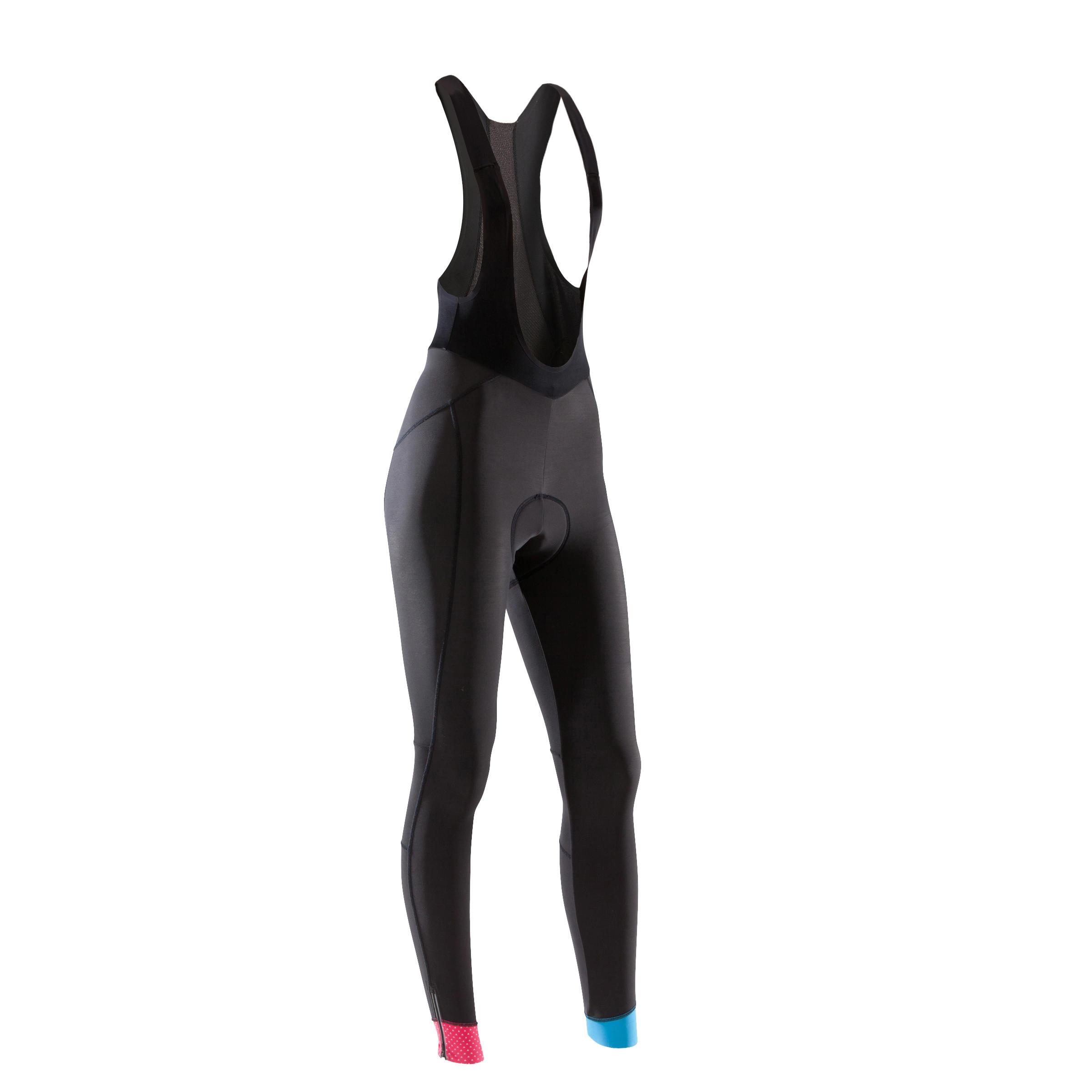 Lange Radhose mit Trägern 900 Damen schwarz | Sportbekleidung > Sporthosen > Fahrradhosen | Schwarz - Rot - Rosa - Blau - Türkis | B´twin