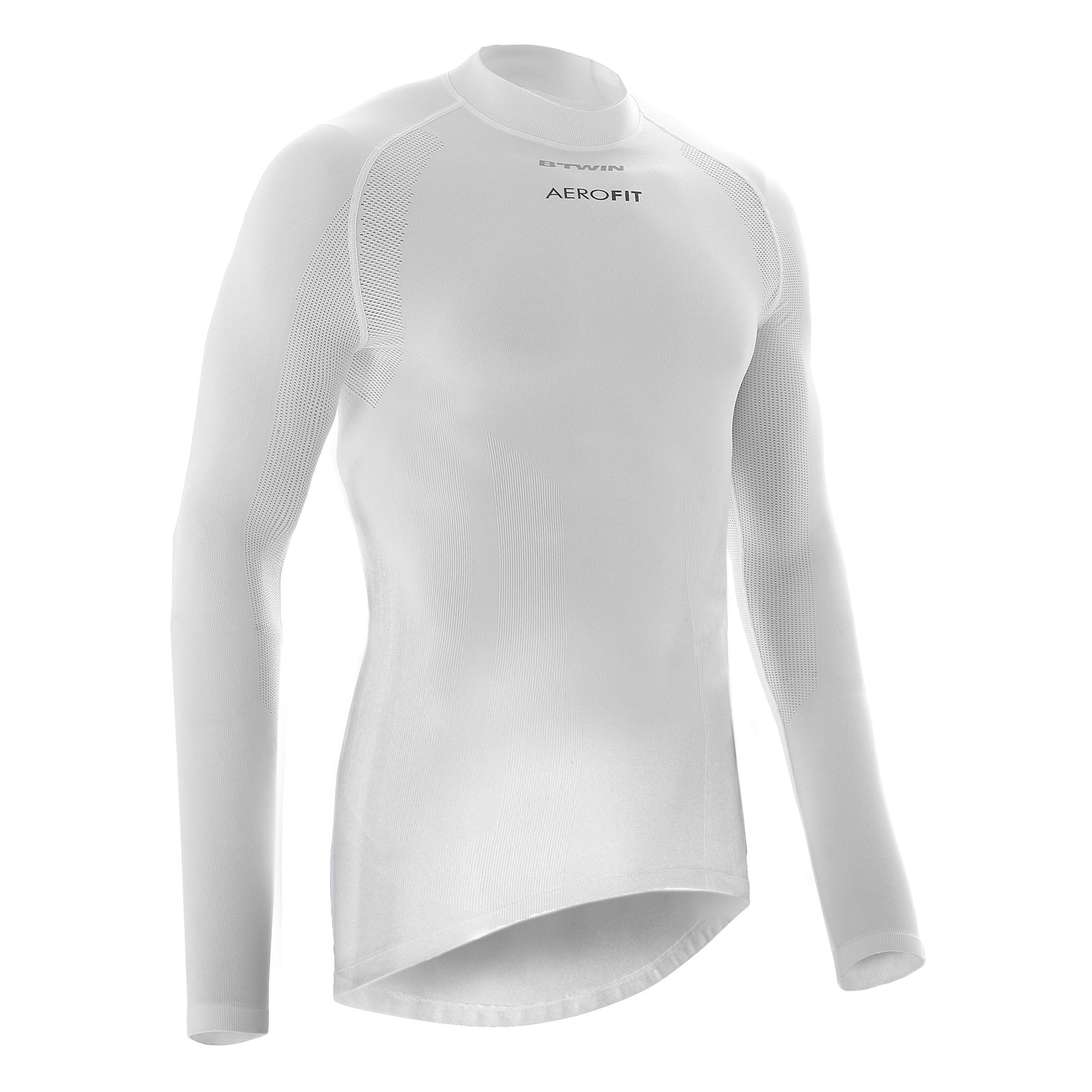 B'twin Winter fietsondershirt met lange mouwen 900 voor heren wielrennen wit thumbnail
