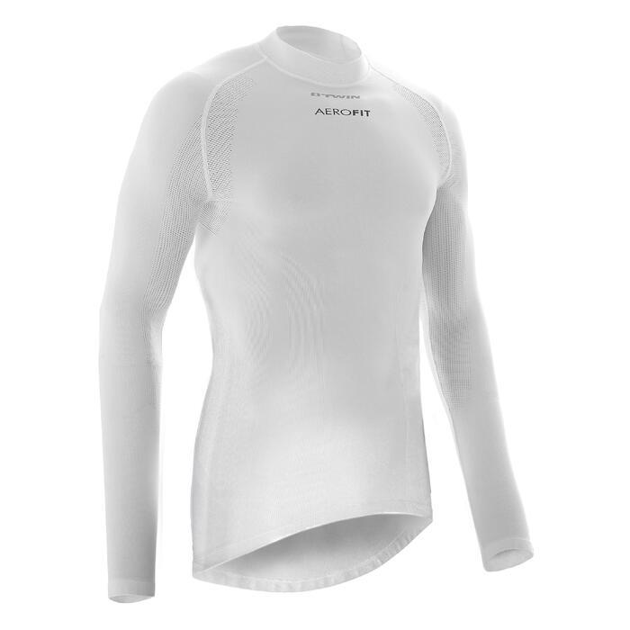 Winter fietsondershirt met lange mouwen 900 voor heren wielrennen wit