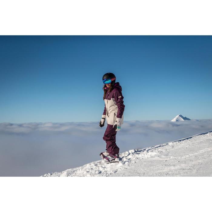 Ski- en snowboardjas SNB JKT 100 voor dames beige en paars