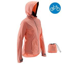 100 Women's City Bike Rain Jacket - Coral
