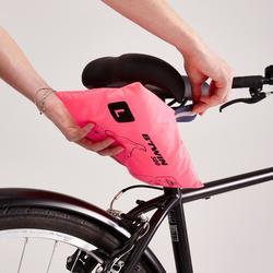 Regenponcho fiets 500 marineblauw/roze
