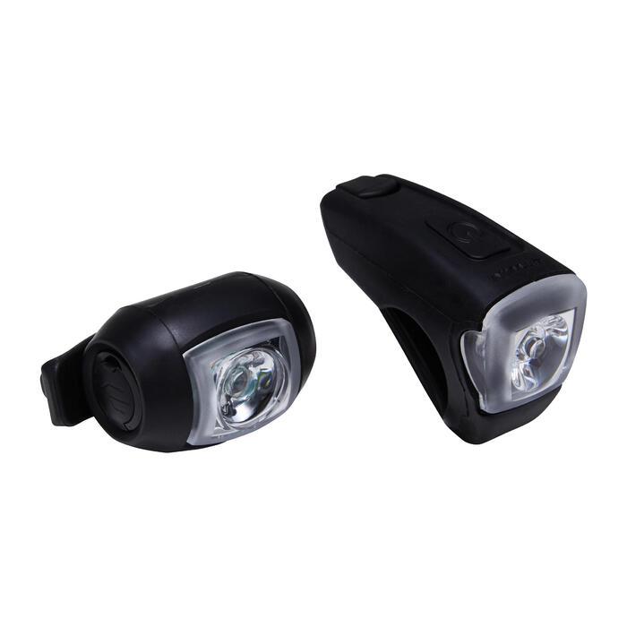 USB充電LED前後照明自行車燈組ST 520 - 黑色