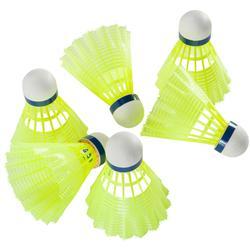 Badmintonshuttles in plastic Mavis 300 x 6 stuks geel