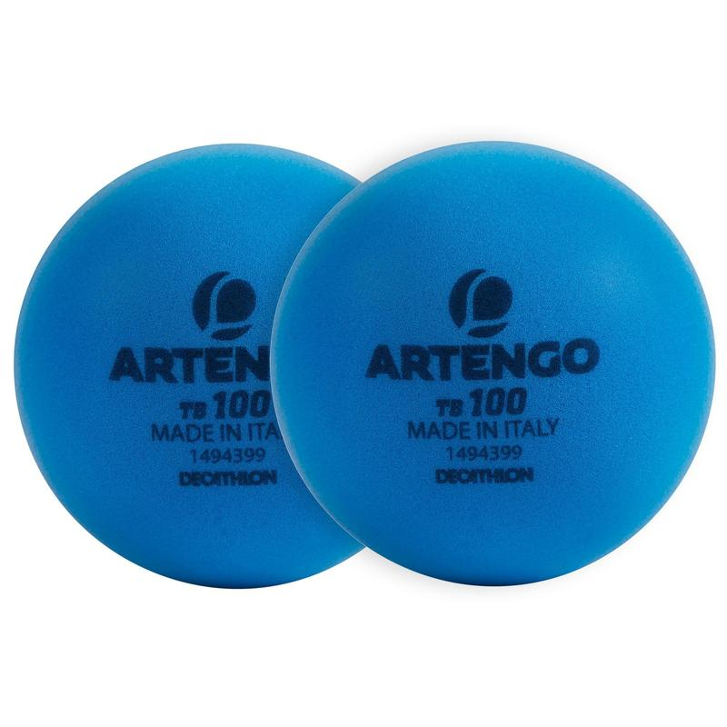 9cm Foam Tennis Ball TB100 Twin-Pack - Blue