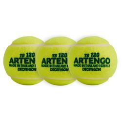 Tennisbälle Einzeln 120 x3 grün