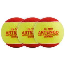 Tennisbälle Einzeln 100 x3 rot