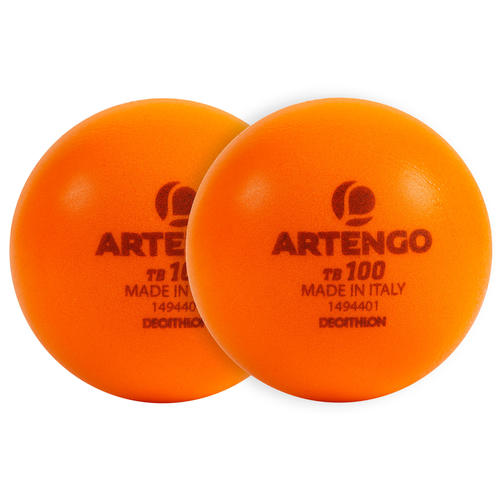 BALLE DE TENNIS MOUSSE TB100 X2 ORANGE