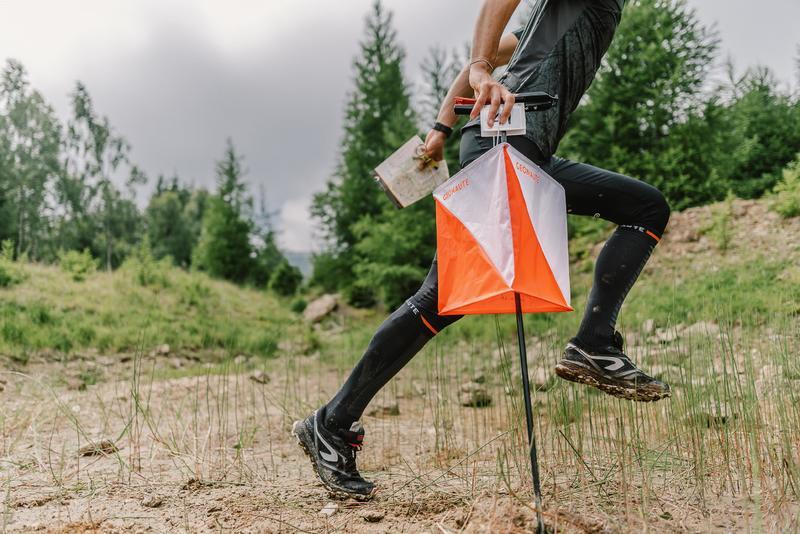Reinforced long and durable orienteering socks - black
