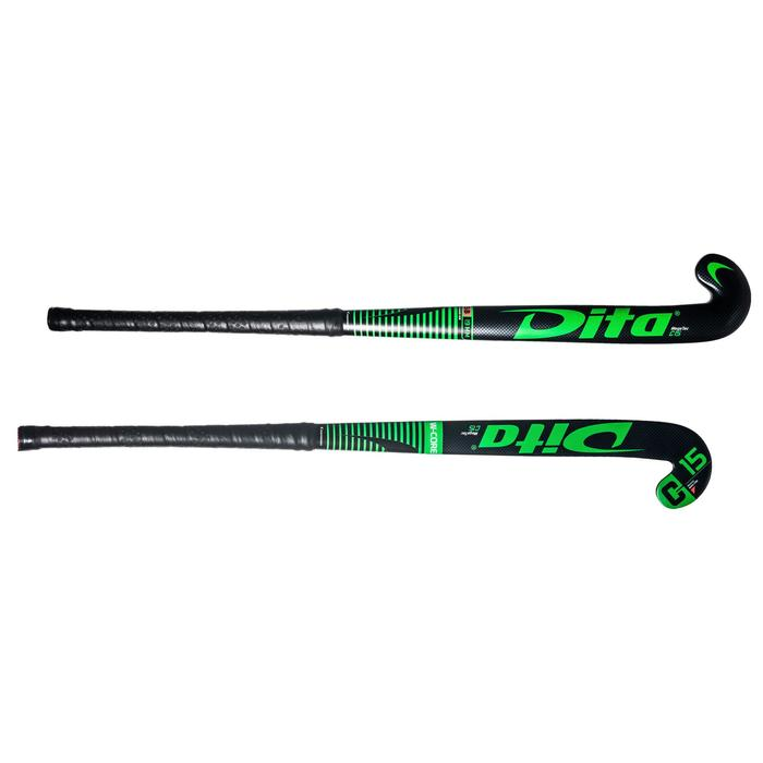 Stick de hockey sur gazon enfant débutant bois MegaTec C15 noir et vert