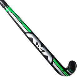 Hockeystick voor kinderen gevorderd 20% carbon mid bow Total 2 JR zwart groen