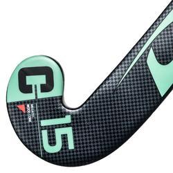 Stick de hockey sur gazon enfant débutant bois MegaTec C15 noir et turquoise