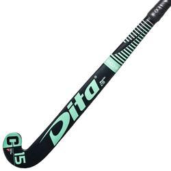 Hockeystick voor kinderen beginner hout MegaTec C15 zwart en turquoise