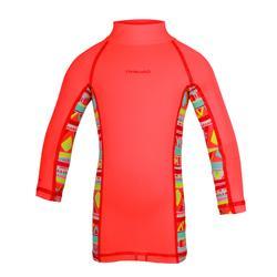 500 兒童款短袖保暖防曬衝浪上衣 -粉紅色