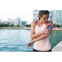 Hardloop armband voor grote smartphone fluo koraalroze