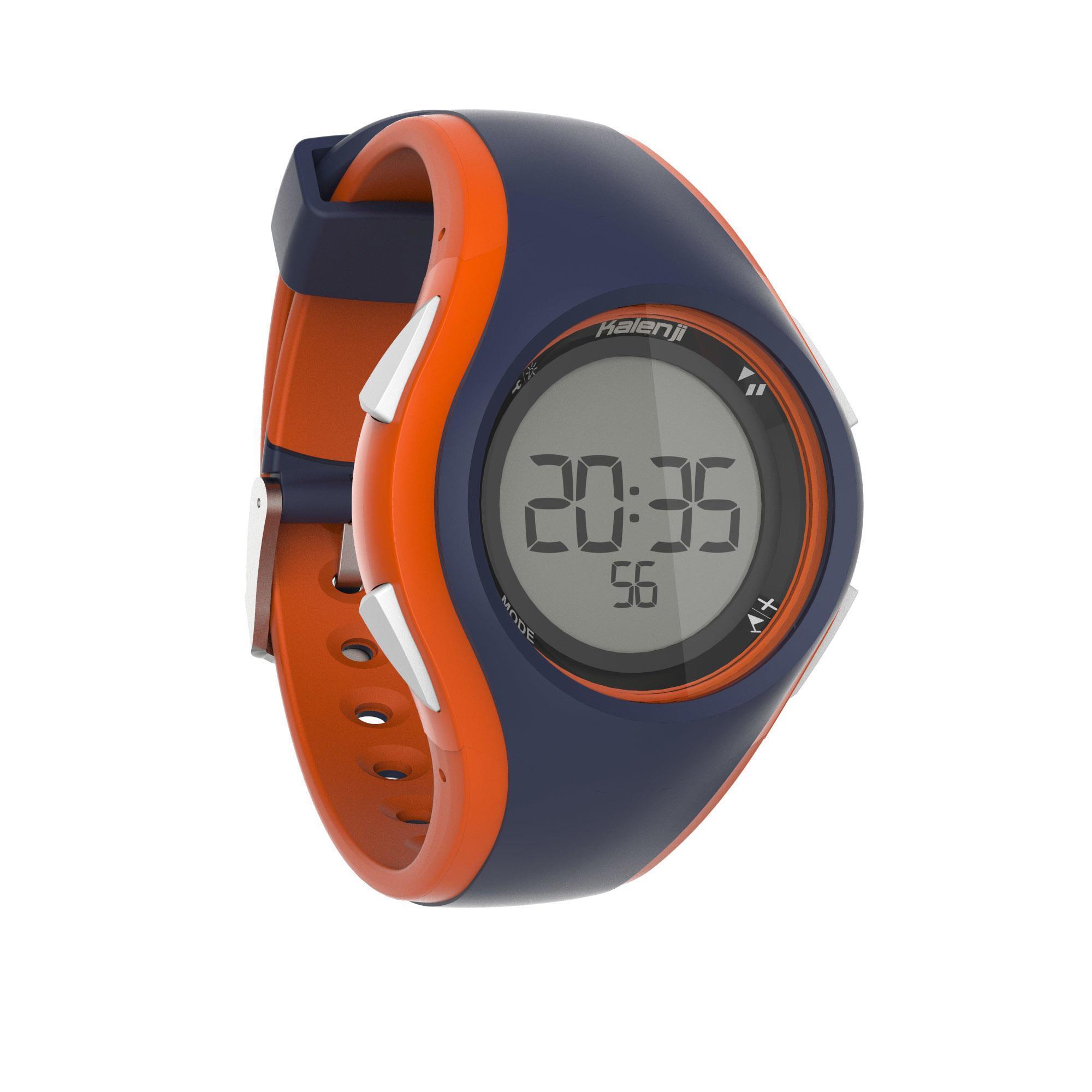 Kalenji Hardloophorloge met stopwatch W200 M blauw en oranje thumbnail