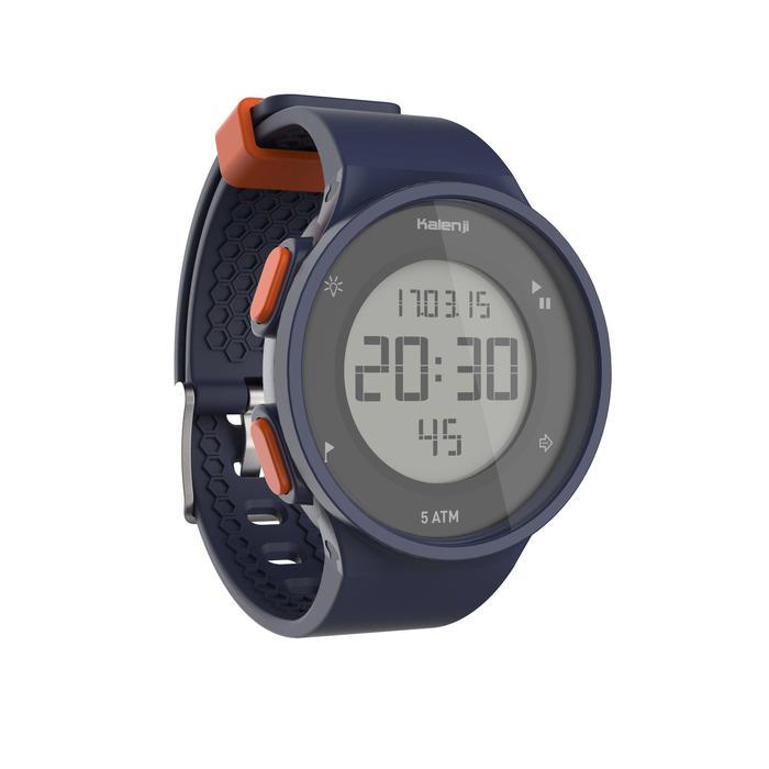 Hardloophorloge met stopwatch heren W500 M blauw en oranje