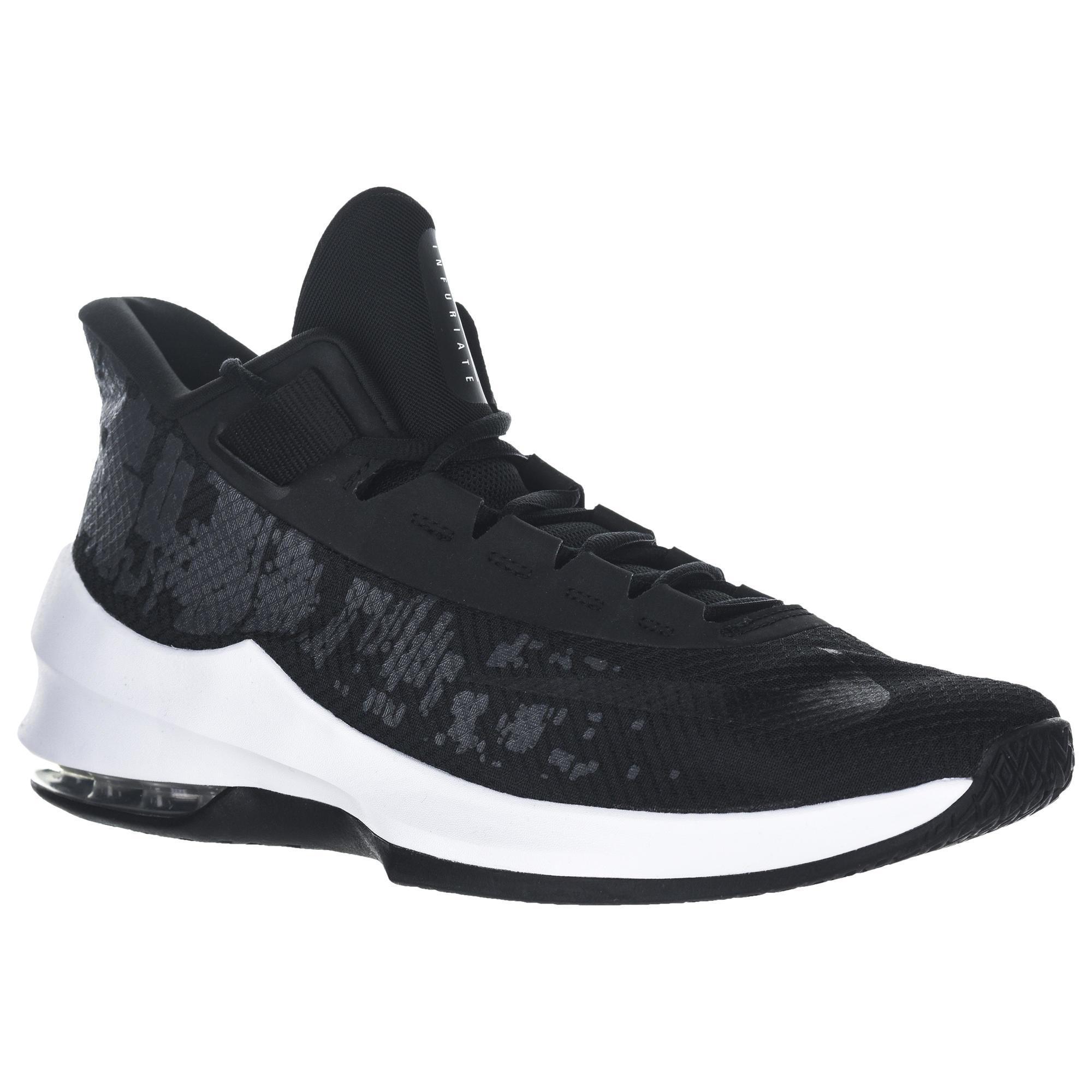 separation shoes a6f89 d63e8 Nike Basketbalschoenen halfgevorderde spelers Air Max Infuriate 2 Mid zwart   Decathlon.nl
