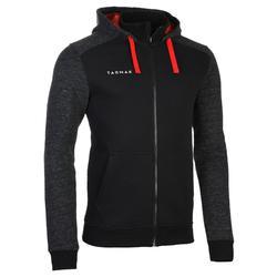 中階籃球連帽拉鍊外套J500-黑色/灰色