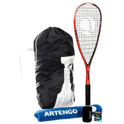 Set Raqueta Squash SR 960 Adulto Naranja + Mochila/Toalla/Muñequera/Pelota SB990