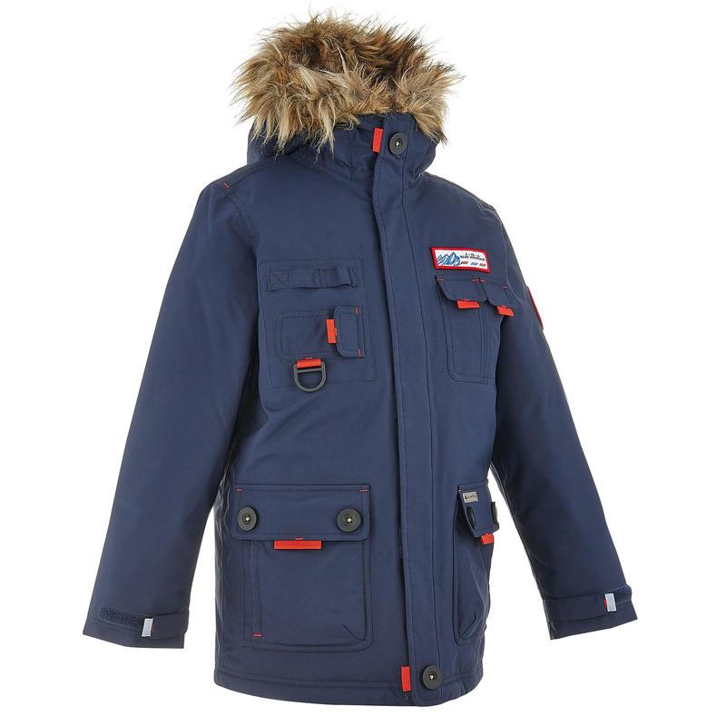 Veste chaude imperméable randonnée XX WARM garçon Bleu marine