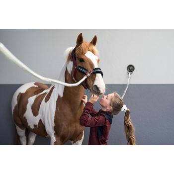 Warme polo met lange mouwen voor kinderen ruitersport 500 Warm bordeaux
