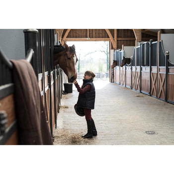 Chaleco cálido equitación niños 500 WARM azul marino/burdeos