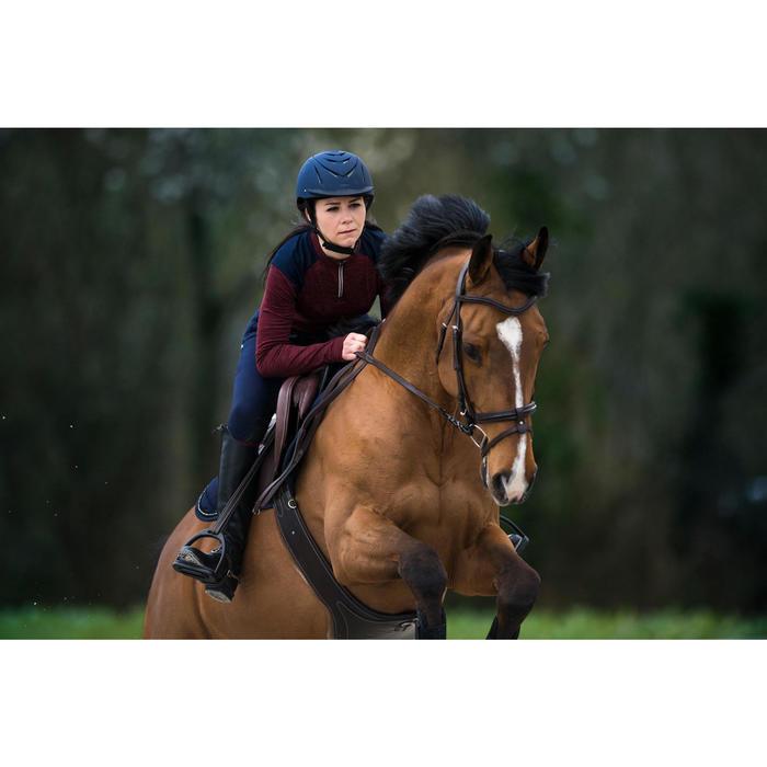 Polo de equitación mujer de manga larga y cálido 500 WARM burdeos