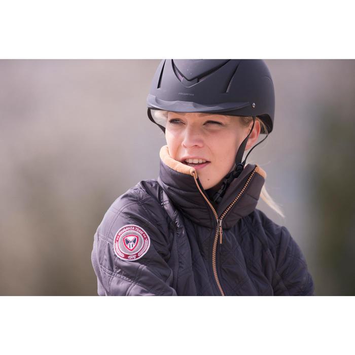 Damesfleece ruitersport 500 grijs/camel