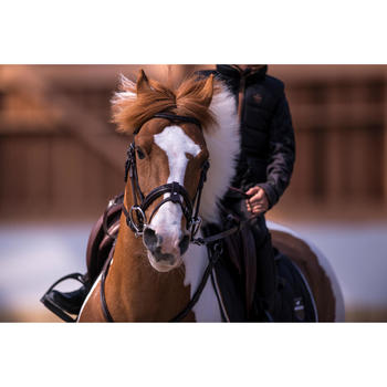 Chaleco Equitación Fouganza 500 Warm Niño Gris y Camel Cálido de Guata