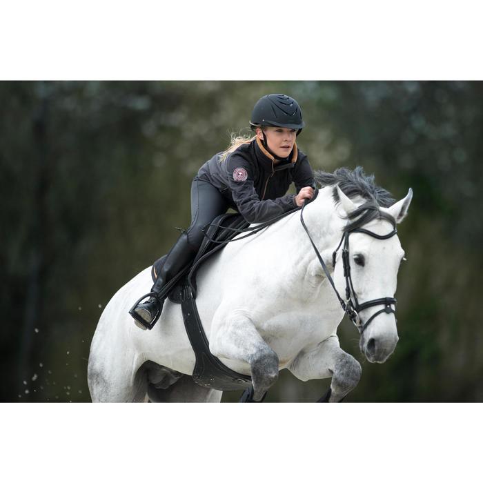 Forro polar equitación mujer 500 gris/camel
