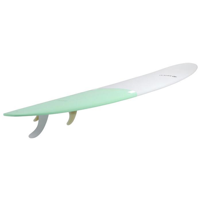 硬式長板衝浪板900 9'。附2+1片板舵。