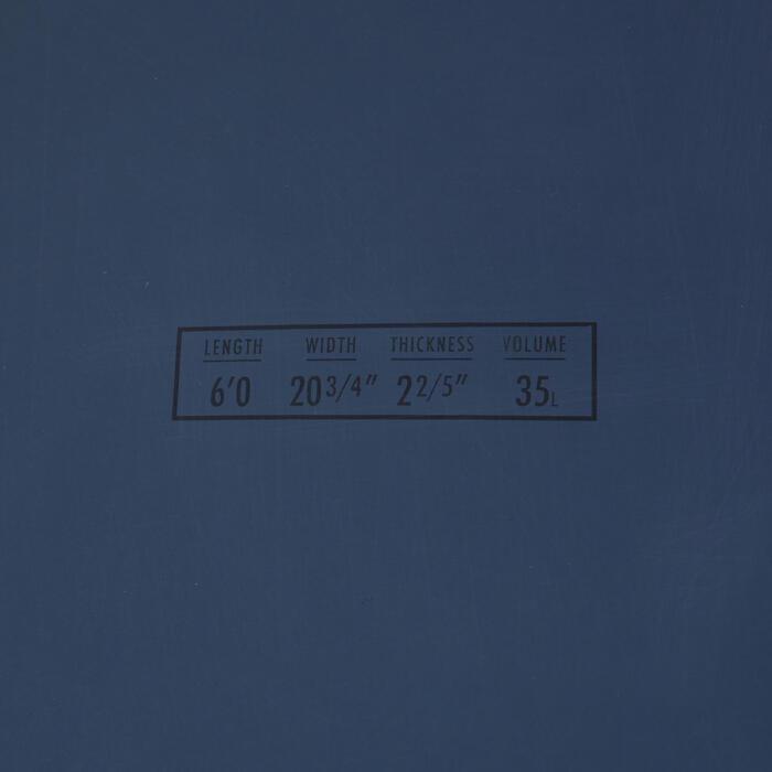 硬式復古魚板衝浪板900 6'。附2片板舵。