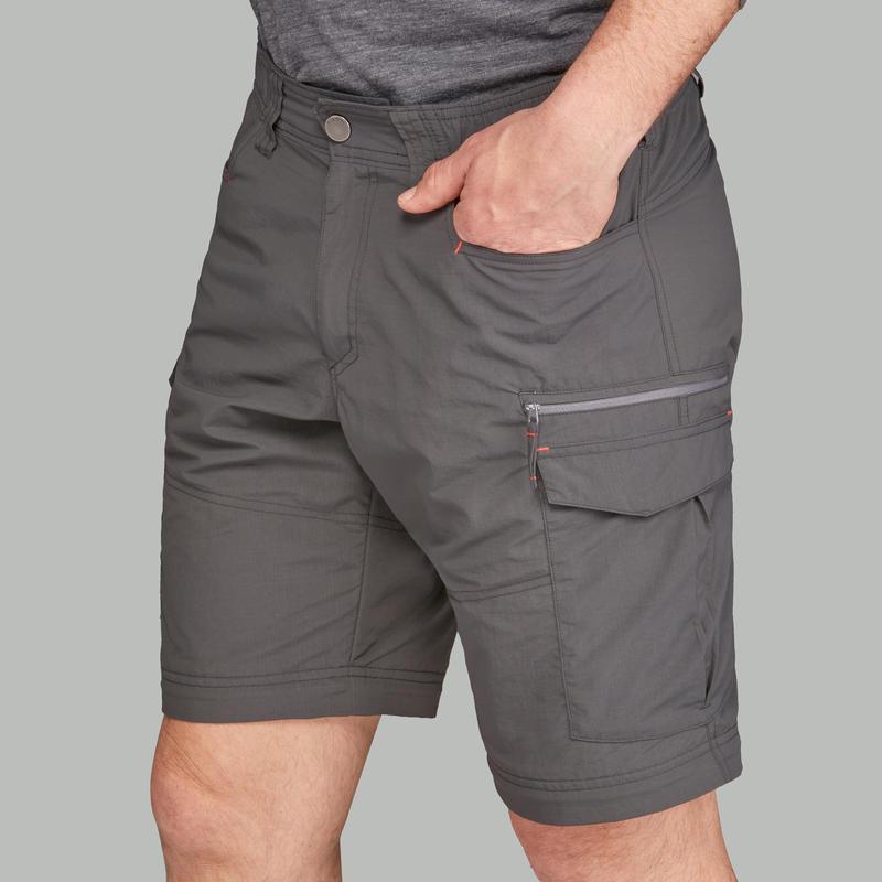 Men's dark grey TREK 100 mountain trekking convertible trousers