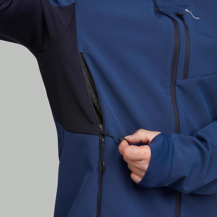 Softshell chaude coupe vent de trek montagne - TREK 500 WINDWARM bleu - homme