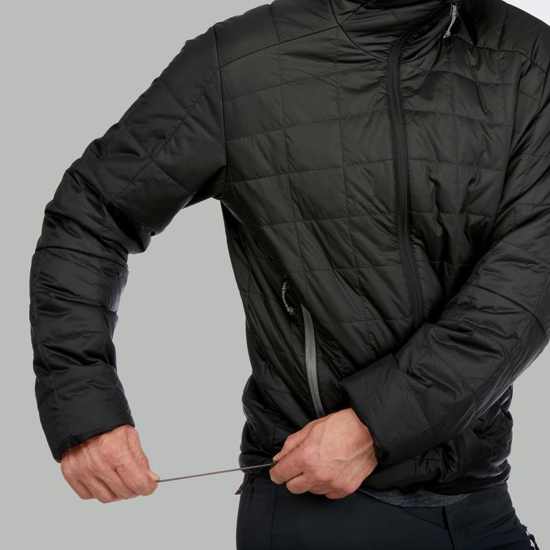 เสื้อแจ็คเก็ตดาวน์ผู้ชายมีฮู้ดสำหรับเทรคกิ้งบนภูเขารุ่น TREK 100 (สีดำ)