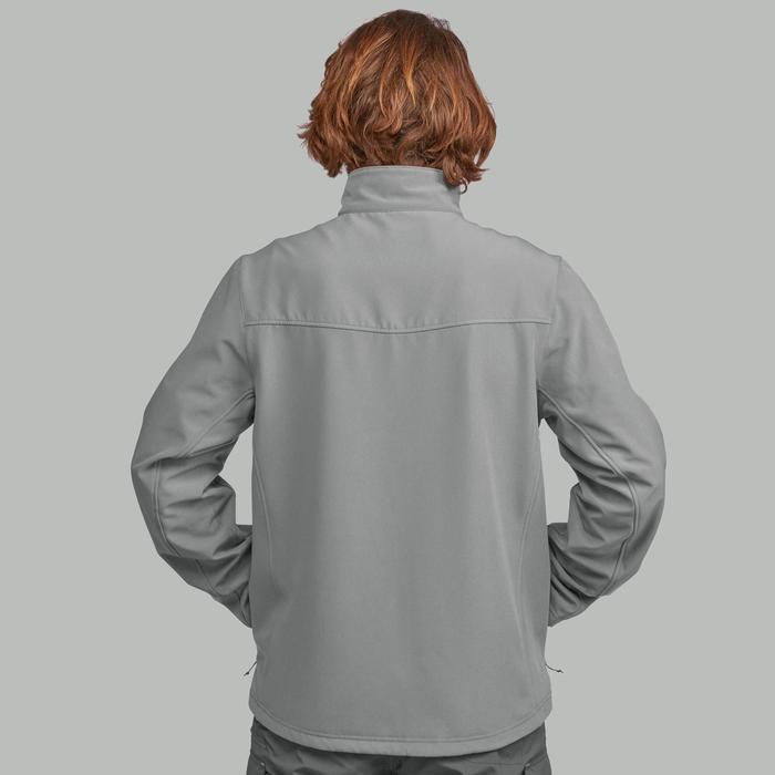 Heren softshell jas voor bergtrekking Trek 100 Windwarm grijs