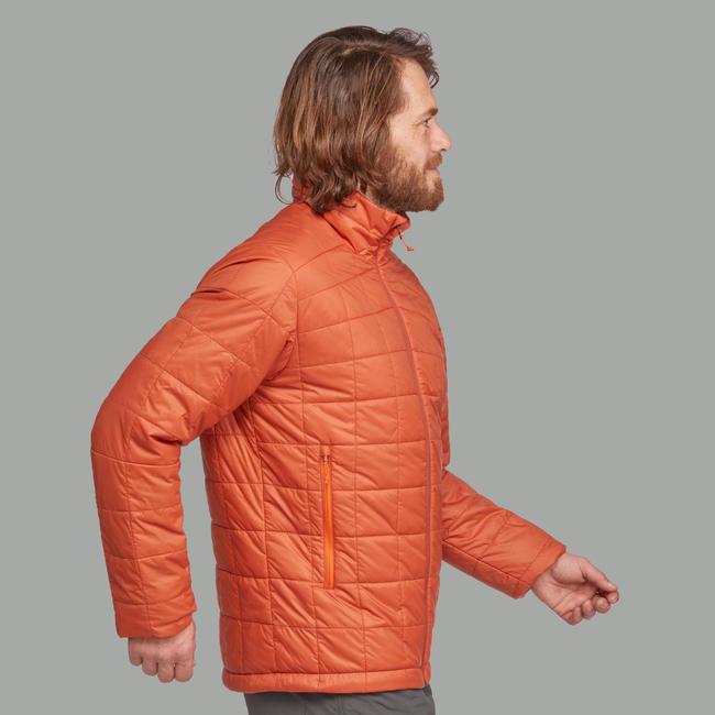 Men's Mountain Trekking Padded Jacket Trek 100 - orange