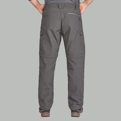 Men's Mountain Trekking Zip-off Trousers Trek100 - Dark Grey