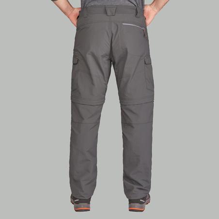 Pantalón Desmontable de Montaña y Trekking, Forclaz, Trek100, Hombre, Gris