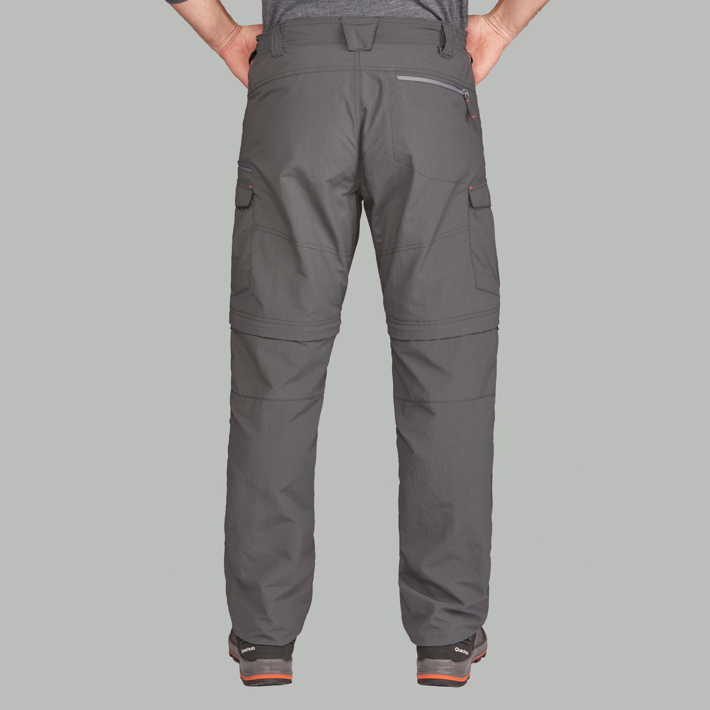 Pantalon modulable randonnée d'aventure montagne TREK 500 homme gris foncé