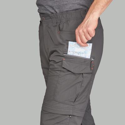 Чоловічі модульні штани TREK 100 для трекінгу в горах – Темно-сірі